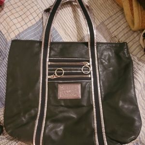 SOLD...COACH BLACK SILVER LEATHER POPPY GLAM…